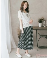 Nursing Dress - 2pcs Lace Black
