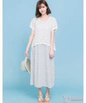 Nursing Dress - 2pcs Lace Grey