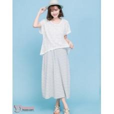 Nursing Dress - 2pcs Lace Grey