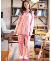 Maternity Pajamas - Polka Pink Long Sleeves