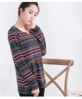Nursing Tops - Long Stripe Tiny Black