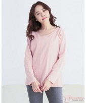 Nursing Tops - Long Round Neck Pink