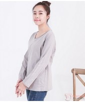 Nursing Tops - Long Round Neck Light Grey