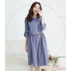Nursing Dress - Long Stripe Pocket Blue