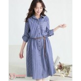 Nursing Dress - Long Stripe Pocket Blue