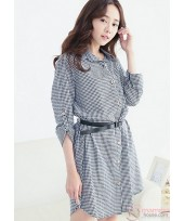 Nursing Dress - Long Grid Black