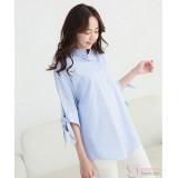 Nursing Tops - Long Blouse Stripe Blue