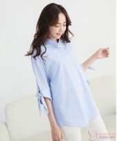 Nursing Tops - Long Blouse Stripe Blue