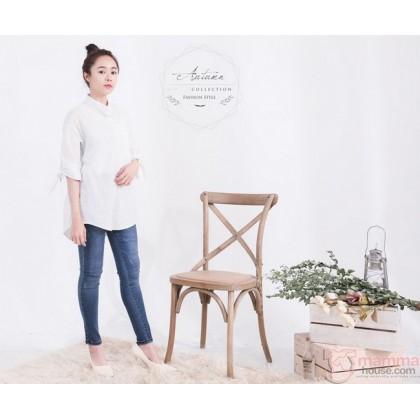 Nursing Tops - Long Blouse Stripe White