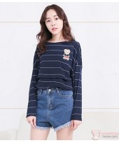 Nursing Tops - Long Stripe Bear Dark Blue