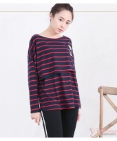 Nursing Tops - Long Stripe Bear Blue Red