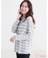 Nursing Tops - Long Stripe Cross Grey