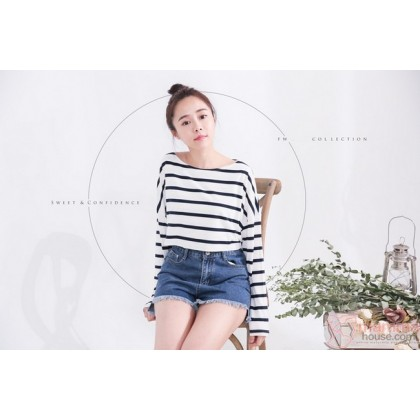 Nursing Tops - Long Stripe Cross White