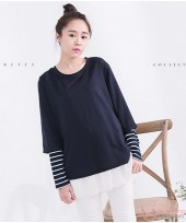 Nursing Tops - Long Style Stripe Black