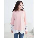 Nursing Tops - Long Style Stripe Pink