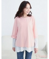 Nursing Tops - Long Style Stripe Pink