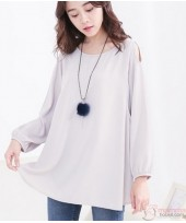 Nursing Tops - Long Shoulder Grey