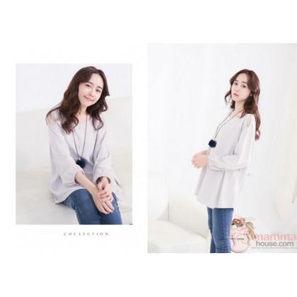 Nursing Tops - Long Shoulder Grey