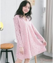 Nursing Dress - Elegant Lace Pink Long Sleeves V NECK