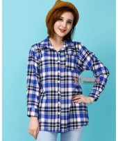 Nursing Tops - Long Shine Grid Blue