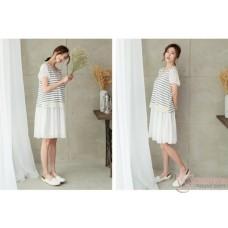 f246e16856c Nursing Dress - Chiffon Lace Stripe White