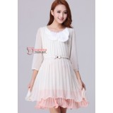 Maternity Dress - Korean Pearl Chiffon Pink White Dress
