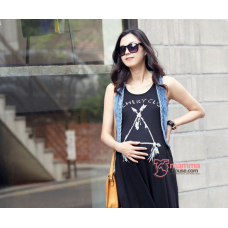 Maternity Dress - Long Triangle Black