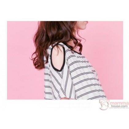 Nursing Dress - White Top Stripe Long Dress