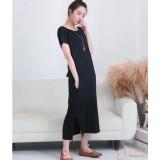 Nursing Dress - Simple Long Dress Black