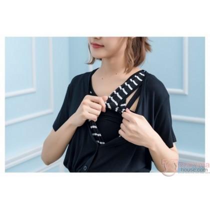 Nursing Dress - Long Join Button Black