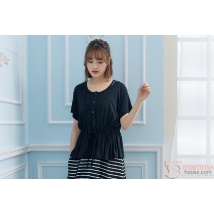 Nursing Dress - Long Join Button Black