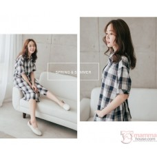 Nursing Dress - Long Grid Button Blue