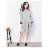 Nursing Dress - Long Fold Sleeves Grey Light
