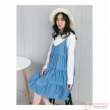 Nursing Dress - 2pcs Long Layer Denim Light Blue