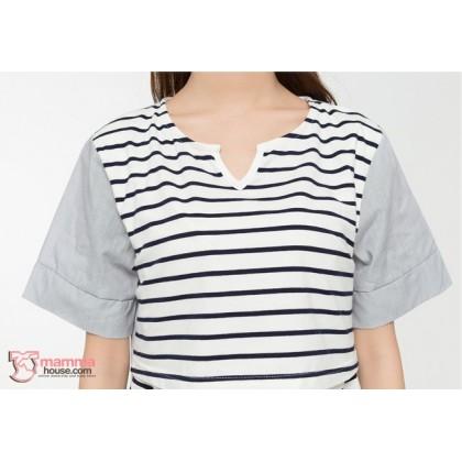 Nursing Tops - Front Stripe Black White