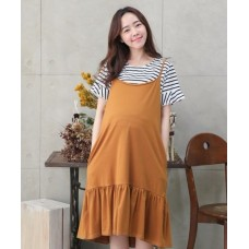 Nursing Dress - 2pcs Stripe Khaki