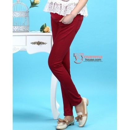 Maternity Pants - Slim Straight Wine Red