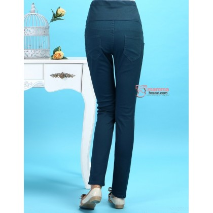 Maternity Pants - Slim Straight Dark Green