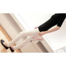 Maternity Pants - Working Slim Bevel White