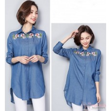 Maternity Blouse - Denim Flora Long