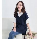 Nursing Tops - Long Blouse Dark Blue White