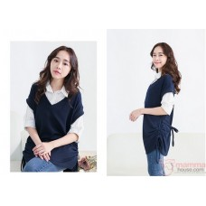 Nursing Tops - Long Blouse Dark Blue White
