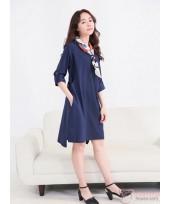 Nursing Dress - Long Joy Ribbon Dark Blue