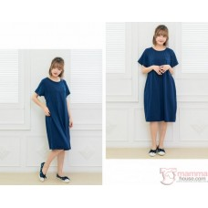 Nursing Dress - Simple Dark Blue