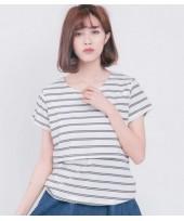 Nursing Tops - V Neck Stripe White