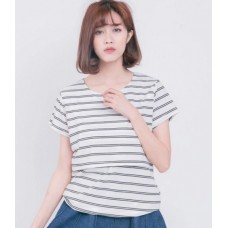 Nursing Tops - V Neck Stripe White