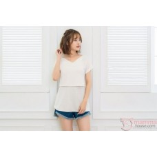 Nursing Tops - V Stripe White Pink