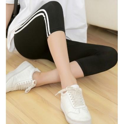 Maternity Legging - Side 2 Line Black