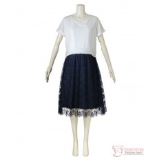 Nursing Dress - JP Charm Lace White Dark Blue