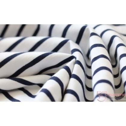 Nursing Tops - JP Singlet Long - Stripe White Blue